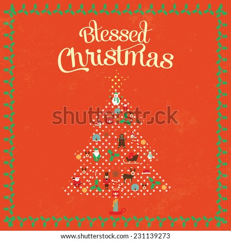 Christmas vintage poster in flat design style / Christmas poster with BLESSED CHRISTMAS inscription / Typographic vector illustration - stock vector
