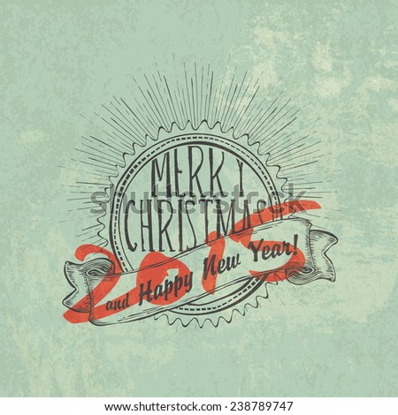 Christmas Vintage Poster. New year 2015. - stock vector