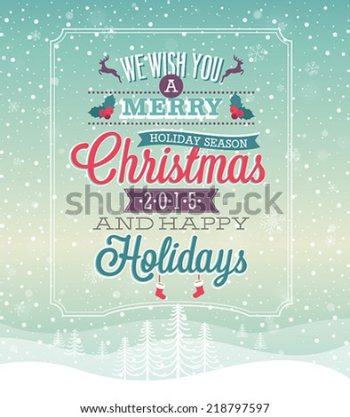 Christmas vintage Poster. Vector illustration. - stock vector