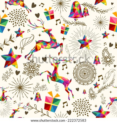 Christmas vintage retro style seamless pattern. Colorful triangles with grunge texture reindeer and snowflakes composition. EPS10 vector file organized in layers for easy editing. - stock vector