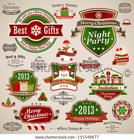 Christmas vintage set - labels, ribbons and other decorative elements. Vector illustration. - stock vector