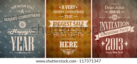Christmas vintage set - retro greeting cards. Vector illustration. - stock vector