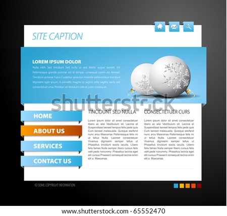Christmas web page template - with 3d navigation items - stock vector