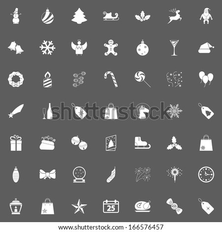 Christmas white Icons For Web. Vector illustration.. - stock vector