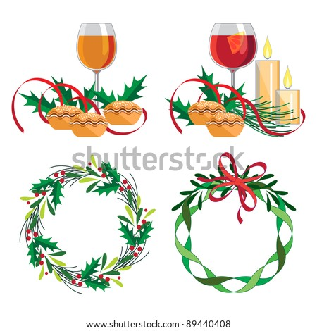 Christmas wine, mince pie and wreath set   Set of four design elements for the festive season. Each illustration isolated on own layer. - stock vector