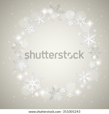 Christmas winter background with snowflakes on grey - stock vector