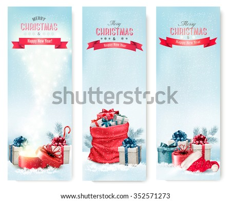 Christmas winter banners with presents. Vector. - stock vector