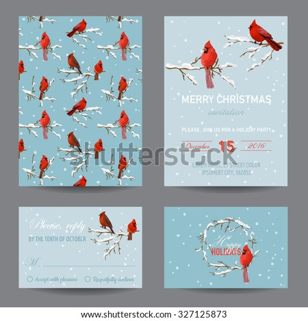 Christmas Winter Birds - Invitation or Greeting Card Set - in vector - stock vector