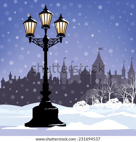 Christmas Winter Cityscape with luminous street lantern, snow flakes and trees. Old street light in city park snow alley. - stock vector