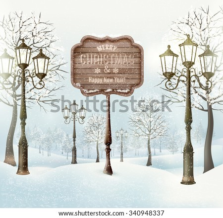 Christmas  winter landscape with lampposts and wooden sign. Vector. - stock vector