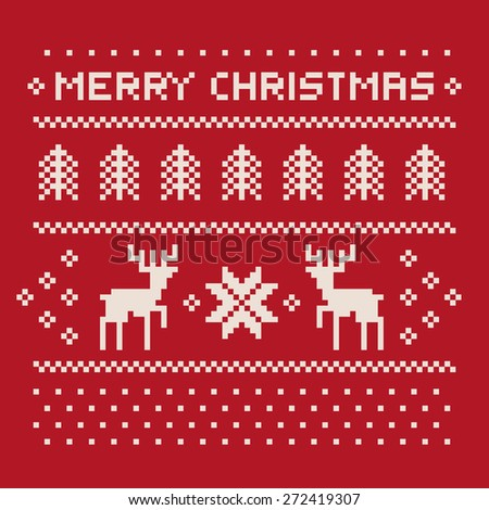 christmas winter pattern print for jersey or t-shirt. Pixel deers and christmas trees on the red background - stock vector