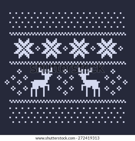 christmas winter pattern print for jersey or t-shirt. Pixel deers and snowflakes on the dark blue background - stock vector