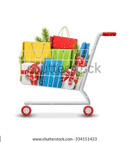 Christmas Winter Sale Shopping Cart with Bags Gift Boxes and Pine Branches Isolated on White Background - stock vector