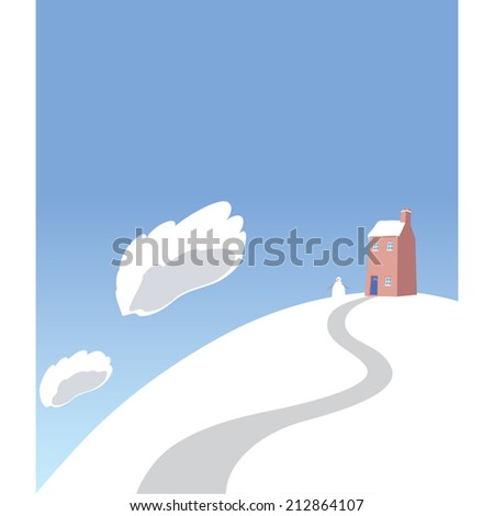 Christmas winter scene cartoon vector illustration home with snowman - stock vector