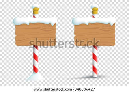 Christmas Winter Snow Blank Wooden Signs On A Transparent Background  - stock vector