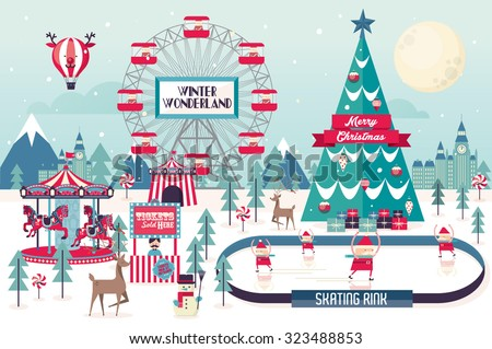 christmas winter wonderland vector/illustration - stock vector