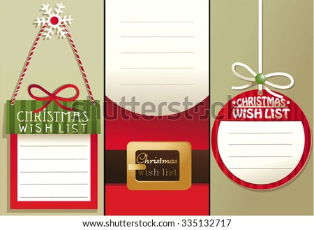 Christmas wish list - stock vector