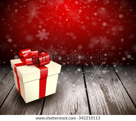 Christmas wooden background with gift box. Vector illustration.  - stock vector