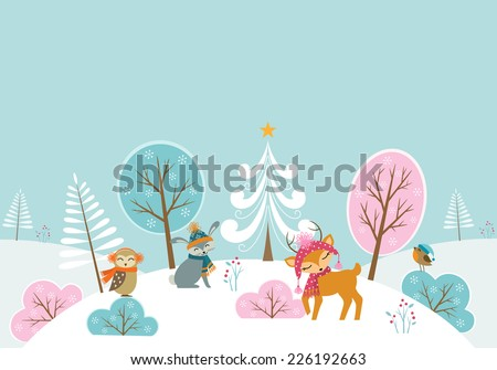 Christmas woodland background with cute animals. - stock vector