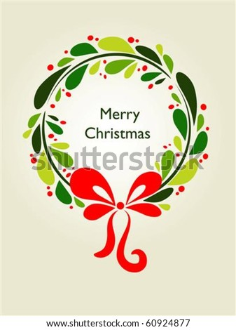 Christmas wreath card template - 1 - stock vector