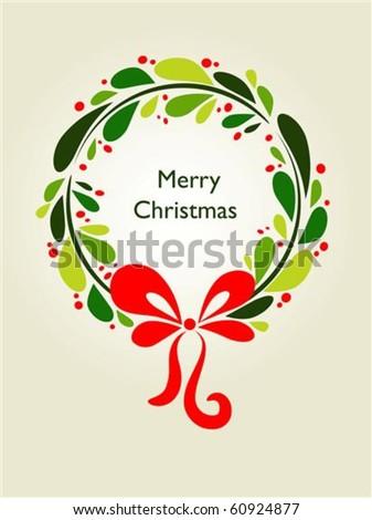 Christmas wreath card template - 1 - stock vector