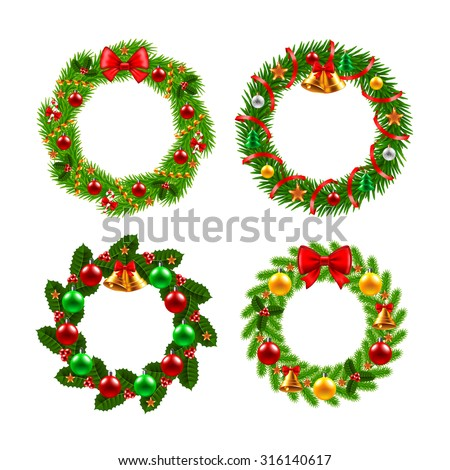 Christmas wreath icons photo realistic vector set - stock vector