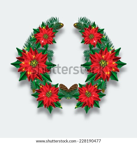 Christmas wreath of fir branches and flowers poinsettias - stock vector