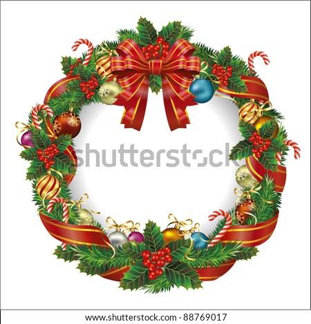 Christmas wreath. Vector - stock vector