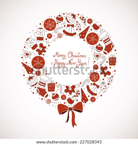 Christmas wreath with Christmas elements - stock vector