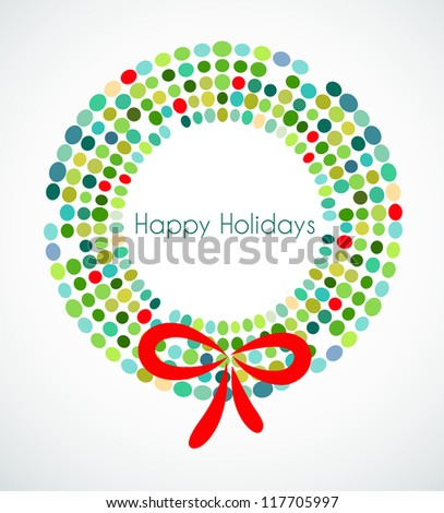 Christmas wreath with pattern - stock vector