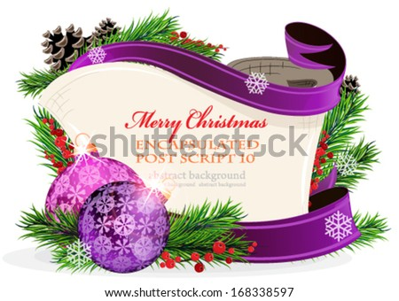 Christmas wreath with purple baubles,  parchment and berries on a white background - stock vector