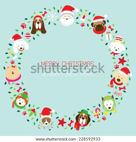 Christmas Wreath with Various Dog Breeds - stock vector