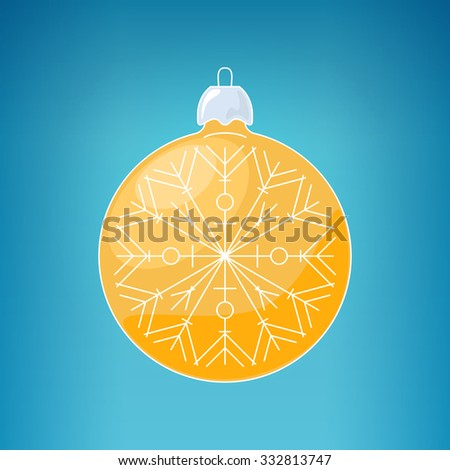 Christmas Yellow Ball with Snowflake , Christmas Ball  on a Blue Background , Christmas Tree Decoration, Merry Christmas and Happy New Year,  Vector Illustration - stock vector