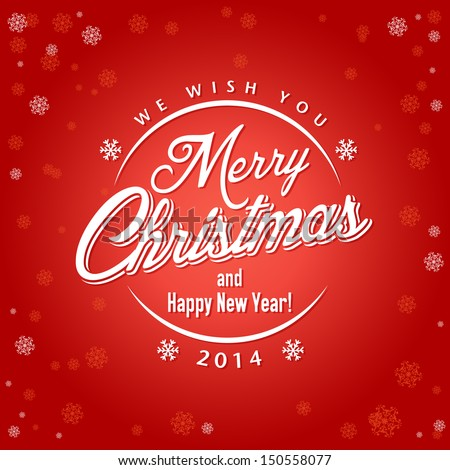 ChristmasCard with calligraphic and typographic elements - stock vector