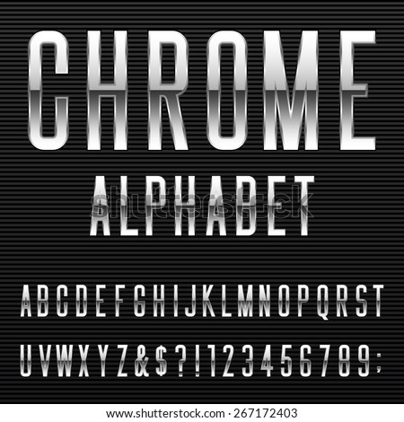 Chrome Alphabet Vector Font. Type letters, numbers and punctuation marks. Metal effect letters on dark background. - stock vector