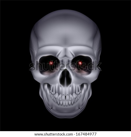 Chrome mystic skull with red sparks in the eyes on black background. - stock vector