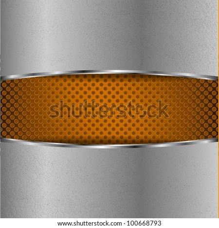 Chrome plate on orange dot metal background - stock vector