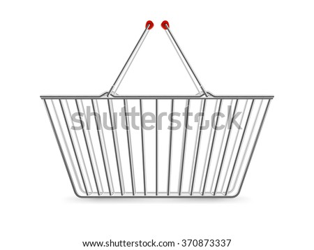 Chrome plated wire metal double handles square empty shopping basket realistic image pictogram vector illustration - stock vector