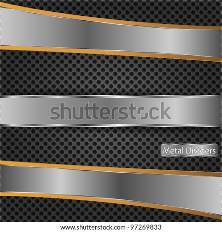 Chrome plates on the metal dot background - stock vector