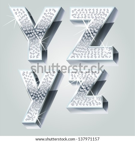 Chrome symbols inlaid of diamond crumbs. Letters Y Z - stock vector