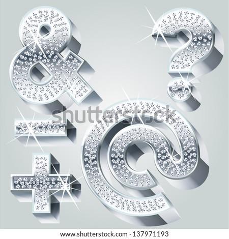 Chrome symbols inlaid of diamond crumbs. Symbols 1 - stock vector