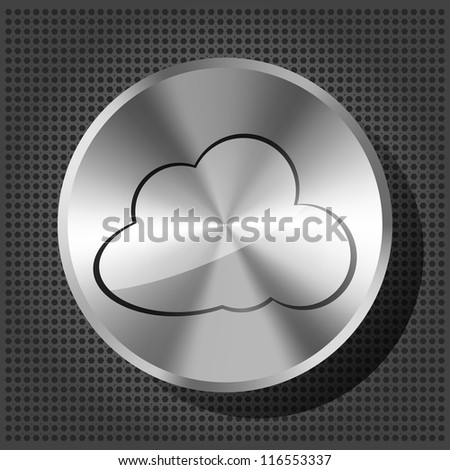 chrome volume knob with cloud icon on the metallic background - stock vector