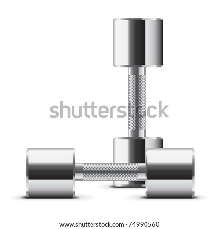 Chromed weights - stock vector