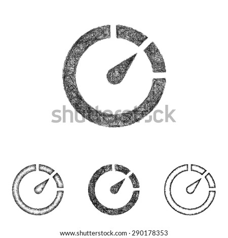 Chronometer icon design set - sketch line art - stock vector