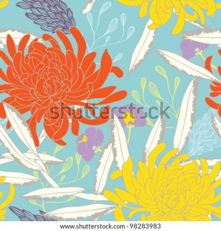Chrysanthemum Floral Seamless - stock vector