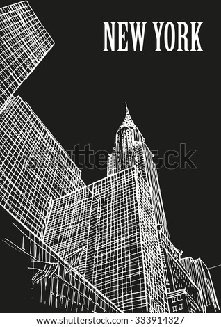 Chrysler building, New York skylines, USA. Ink sketch, hand drawing, mixed media. - stock vector
