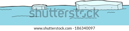 Chunks of melted glaciers floating in blue sea - stock vector