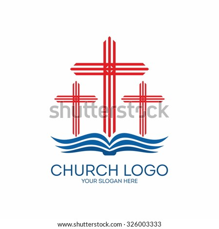 Church logo. Bible and crosses. - stock vector