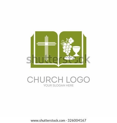 Church logo. Bible, cross, grape,  - stock vector