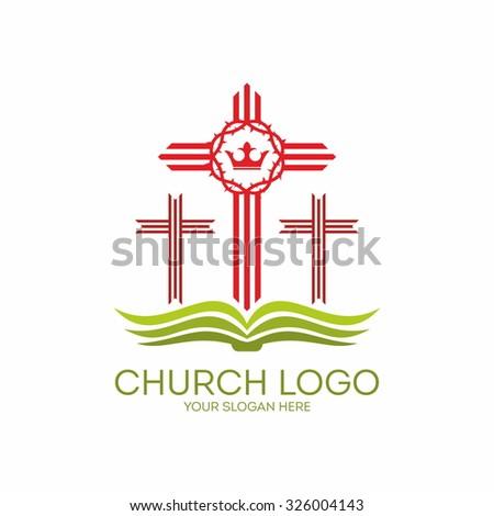 Church logo. Bible, crosses, crown of thorns. - stock vector